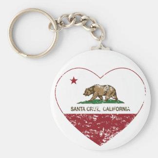 corazón de Santa Cruz de la bandera de California Llavero Personalizado