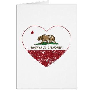 corazón de Santa Cruz de la bandera de California Tarjeton