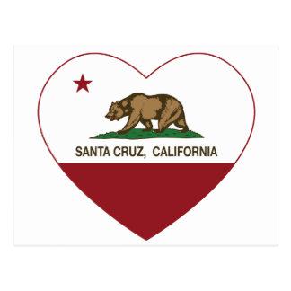 corazón de Santa Cruz de la bandera de California Tarjetas Postales