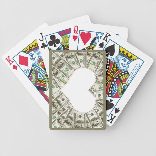Corazón de tarjetas que juegan diseñadas dinero baraja de cartas bicycle