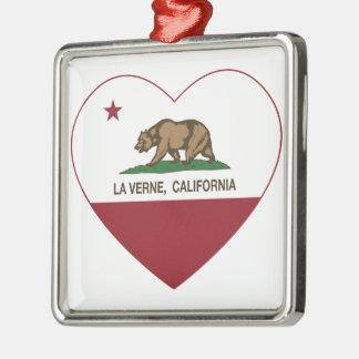 corazón de verne del la de la bandera de Californi Adorno De Navidad