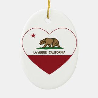 corazón de verne del la de la bandera de Californi Ornamentos De Reyes