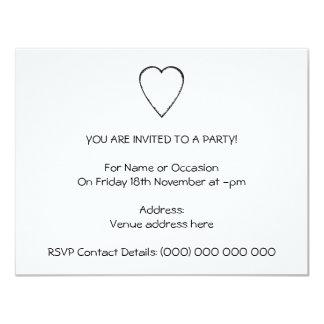 Corazón del amor con el borde del garabato invitación 10,8 x 13,9 cm