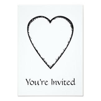 Corazón del amor con el borde del garabato invitación 12,7 x 17,8 cm