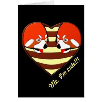 Corazón del amor de la panda roja tarjeta pequeña