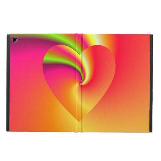 Corazón del amor del remolino del arco iris funda para iPad air