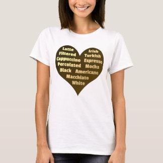 Corazón del amor para la camiseta de las mujeres