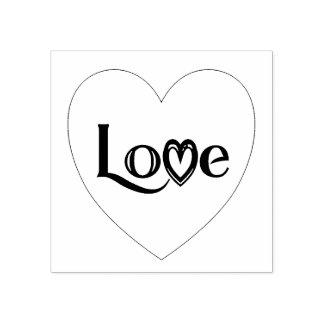 Corazón del amor sello de caucho