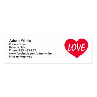 Corazón del amor tarjeta de negocio