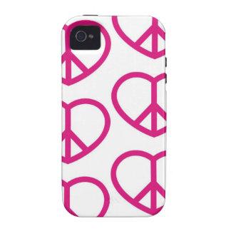 Corazón del amor y de la paz vibe iPhone 4 fundas