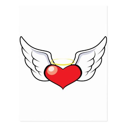 Corazón del ángel postales