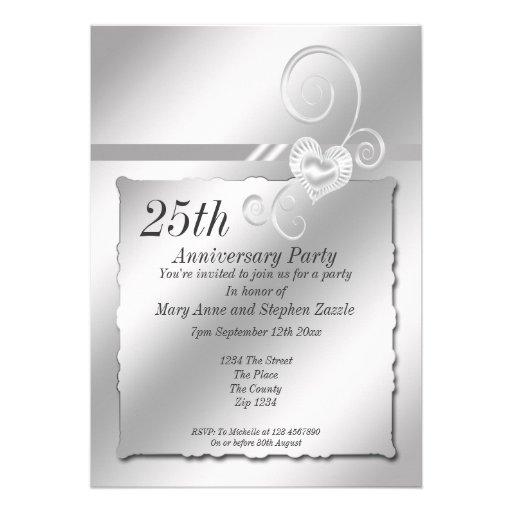 Corazón del aniversario de bodas de plata invitaciones personalizada