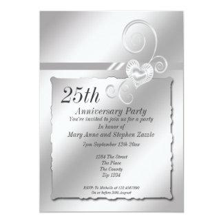 Corazón del aniversario de bodas de plata invitación 12,7 x 17,8 cm