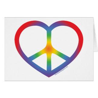 Corazón del arco iris amor signo de la paz tarjeta