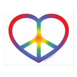 Corazón del arco iris amor signo de la paz tarjeta postal