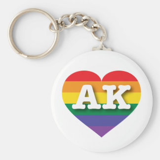 Corazón del arco iris del orgullo gay de Alaska - Llavero Redondo Tipo Chapa