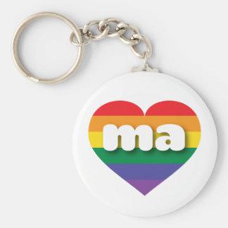 Corazón del arco iris del orgullo gay de llavero redondo tipo chapa