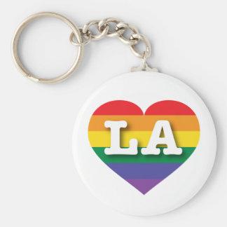 Corazón del arco iris del orgullo gay de Luisiana Llavero Redondo Tipo Chapa