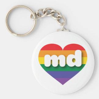 Corazón del arco iris del orgullo gay de Maryland Llavero Redondo Tipo Chapa