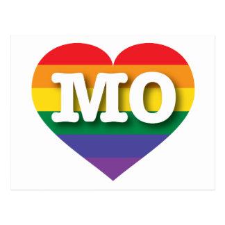 Corazón del arco iris del orgullo gay de Missouri Postal