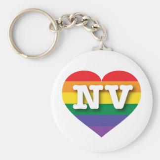 Corazón del arco iris del orgullo gay de Nevada - Llavero Redondo Tipo Chapa