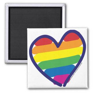 Corazón del arco iris del orgullo gay imán cuadrado