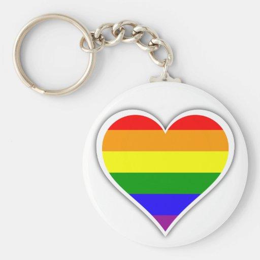 Corazón del arco iris del orgullo gay llavero personalizado