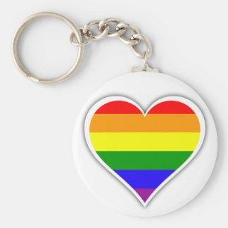 Corazón del arco iris del orgullo gay llavero redondo tipo chapa