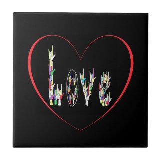 Corazón del ASL por completo del amor Azulejo De Cerámica