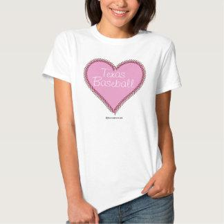 Corazón del béisbol - rosa camiseta