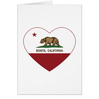 corazón del bonita de la bandera de California Tarjetas