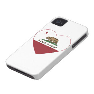 corazón del cajon del EL de la bandera de Californ iPhone 4 Case-Mate Funda