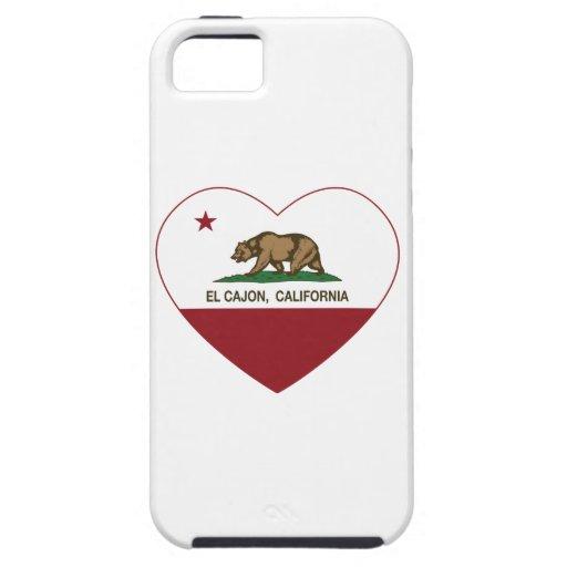 corazón del cajon del EL de la bandera de Californ iPhone 5 Cárcasas