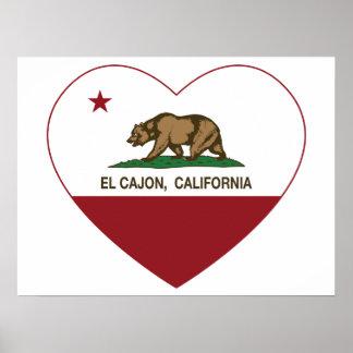 corazón del cajon del EL de la bandera de Californ Poster