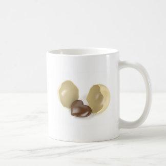 Corazón del chocolate taza de café