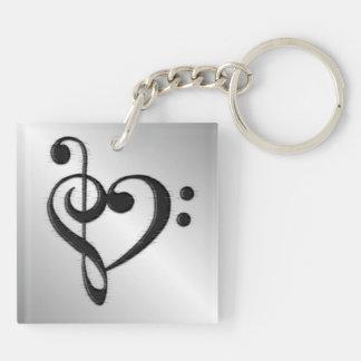 Corazón del Clef de la música apenado Llavero