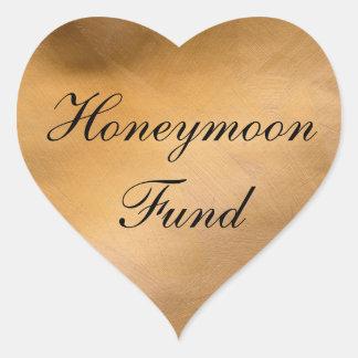 Corazón del cobre del fondo de la luna de miel pegatina en forma de corazón