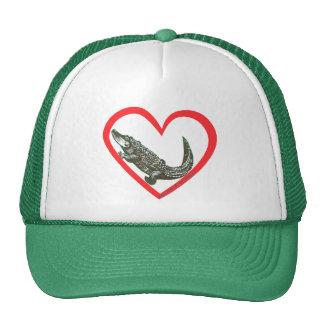 Corazón del cocodrilo gorros bordados