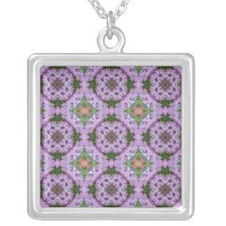 Collar Plateado Corazón del collar de la mandala de la margarita