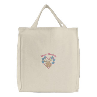 Corazón del conejito de pascua y tote adorables de bolsa bordada