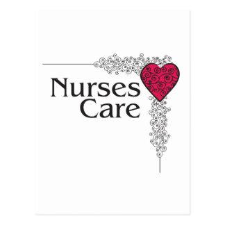 corazón del cuidado de la enfermera postal