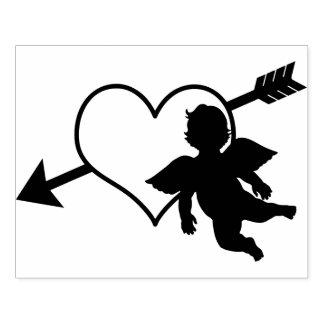 Corazón del Cupid y tarjeta del día de San Sello De Caucho