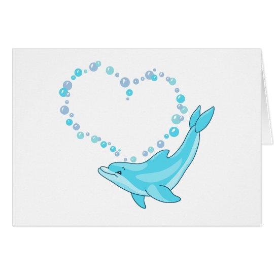 Corazón del delfín tarjeta pequeña