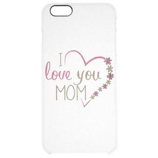 Corazón del día de madres de la mamá del amor funda transparente para iPhone 6 plus