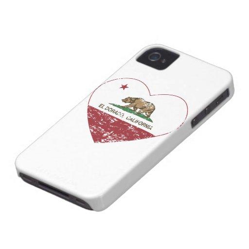 corazón del dorado del EL de la bandera de Califor Case-Mate iPhone 4 Protector