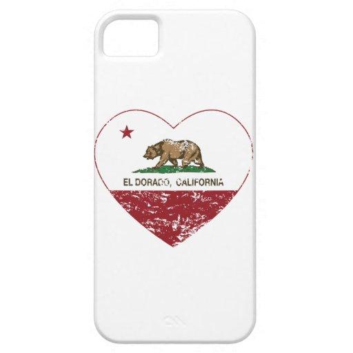 corazón del dorado del EL de la bandera de Califor iPhone 5 Case-Mate Cárcasa