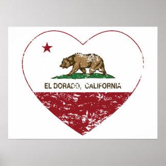 corazón del dorado del EL de la bandera de Califor Impresiones