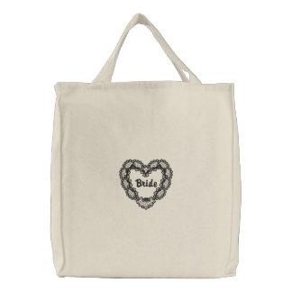 Corazón del ébano - novia bolsa de lienzo