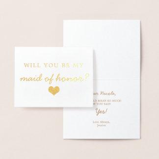 Corazón del efecto metalizado de oro usted será mi tarjeta con relieve metalizado