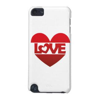 Corazón del ejemplo con AMOR de las letras en rojo Funda Para iPod Touch 5